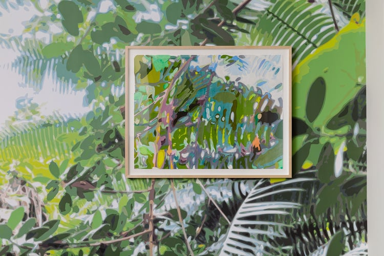 Borrowed Landscape (Tropics of Africa, Asia and the Amazon via Brooklyn),  residential commission. Printed wallpaper with acrylic on washi paper and mylar cutouts in frame, 97 x 109 inches (framed collage-painting: 20 x 26 inches), 2015.  Photograph by Etienne Frossard