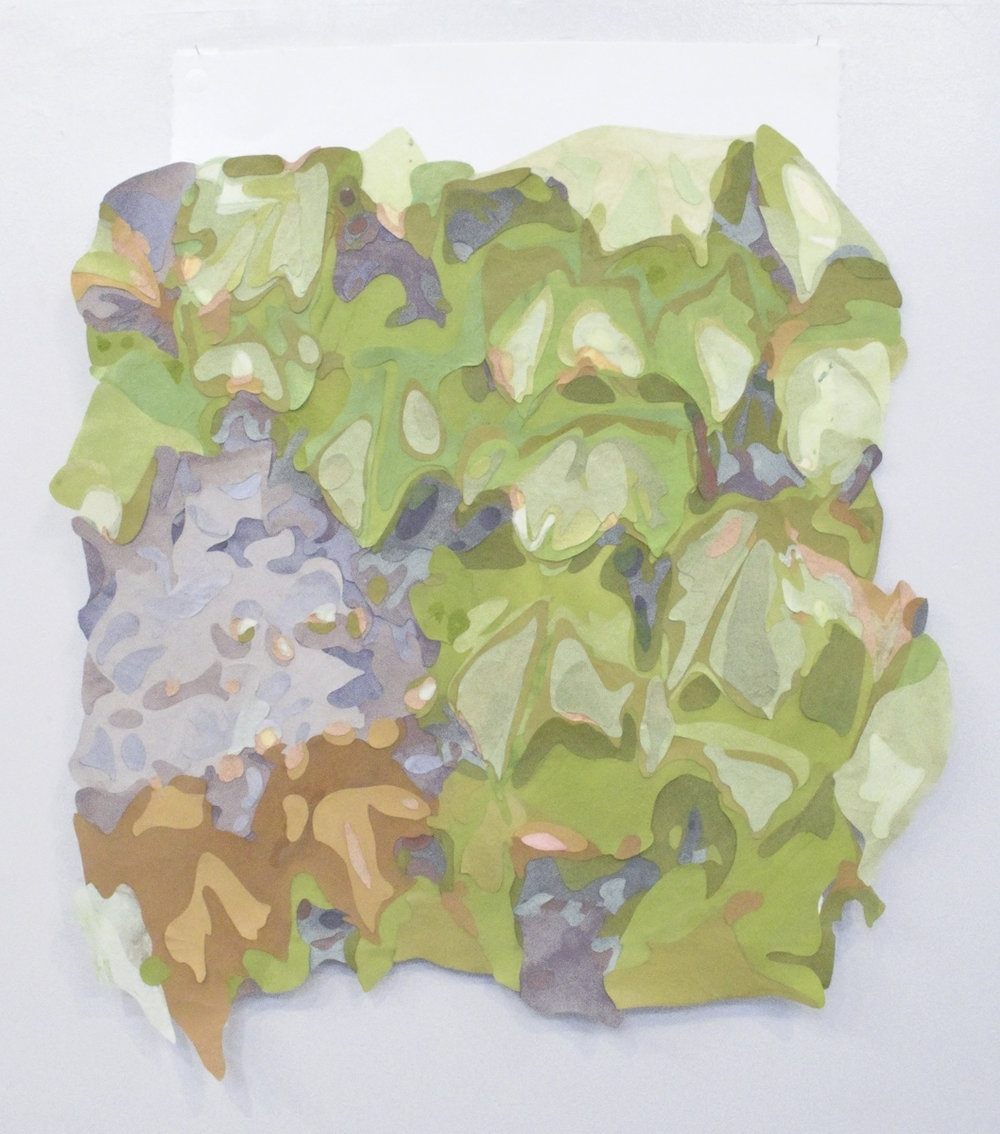 Ivy on concrete wall , 2017 Acrylic on washi paper and mylar, 30 x 26 inches