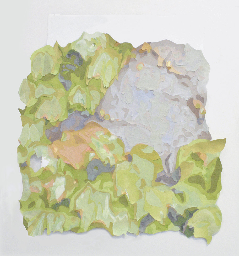 Ivy on concrete wall with hole , 2017 Acrylic on washi paper and mylar, 30 x 26 inches