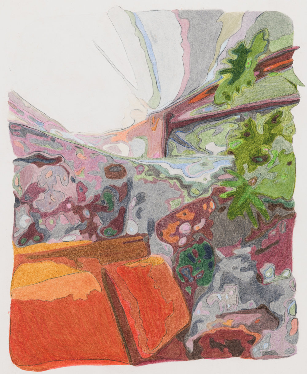 Sitting Nook, Taliesin West , colored pencil on paper, 10 x 8 inches, 2018.  Photography by    Paul Takeuchi