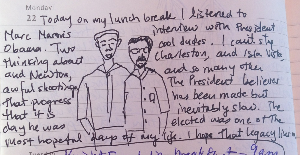 in which I try to draw President Obama and VP of Podcasting Maron.