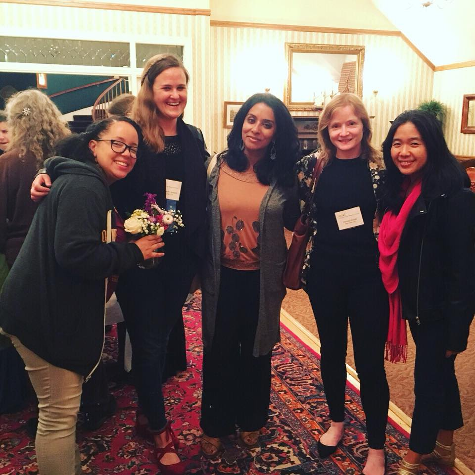 L-R: Writers Jamie Moore, me, Shanthi Sekaran, Mairead Brodie and Vanessa Hua. Taken at the Hill House Inn in Mendocino.