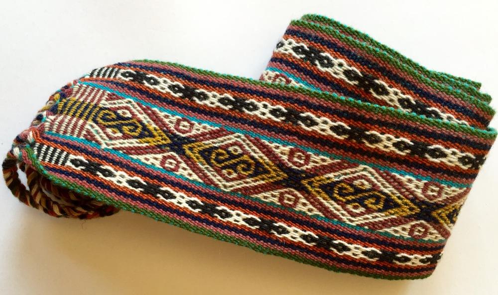 Et vakkert belte. Det kjøpte jeg av indianerkvinnen som satt i hagen ved hotellet i Yucay