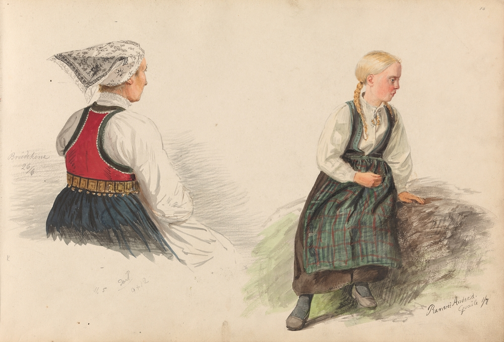Brudekone Dønaat Anfinnsdatter Opheim og Ranveig Andersdatter Kvåle. Voss 26. juni og 1. juli 1855. Foto: Nasjonalmuseet CC-BY-NC.