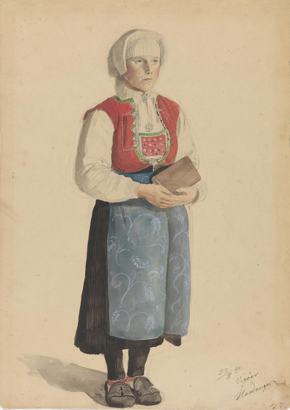Kyrkekledd kone med kvammaskaut, datert 23. august 1843 fra Vigöer (Vikøy) i Hardanger. Foto: Nasjonalmuseet / Anne Jarre. CC-BY-NC
