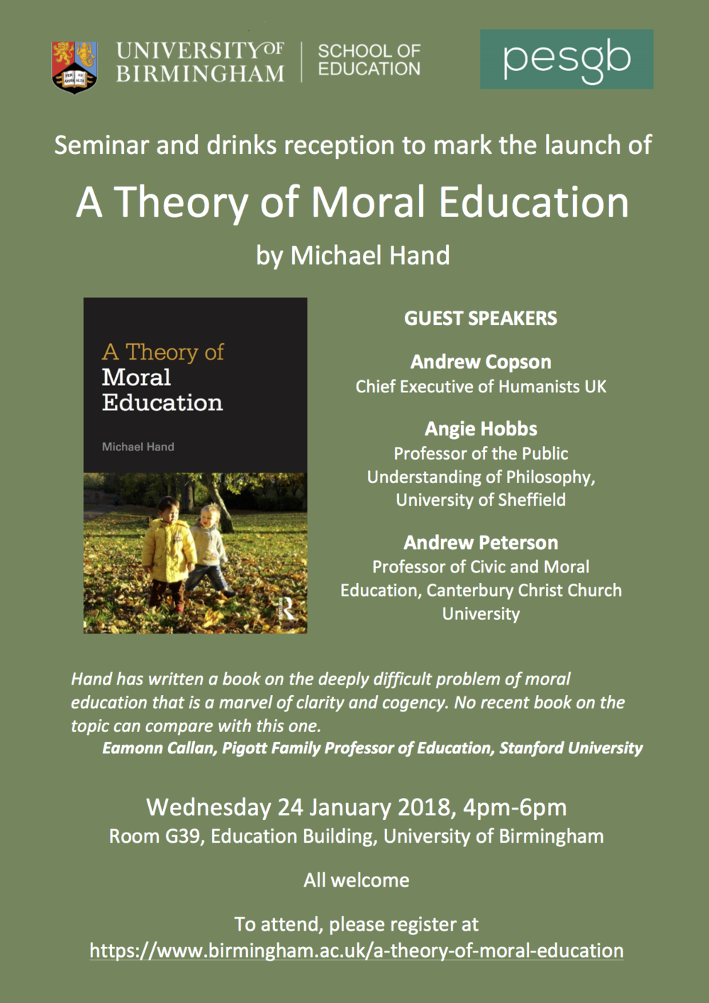 2018-01-24 A Theory of Moral Education by Michael Hand book launch.png