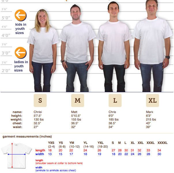 size chart courtesy of CustomInk