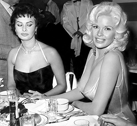 Sophia Loren and Jayne Mansfield    Credit: Joe Shere/mptvimages.com