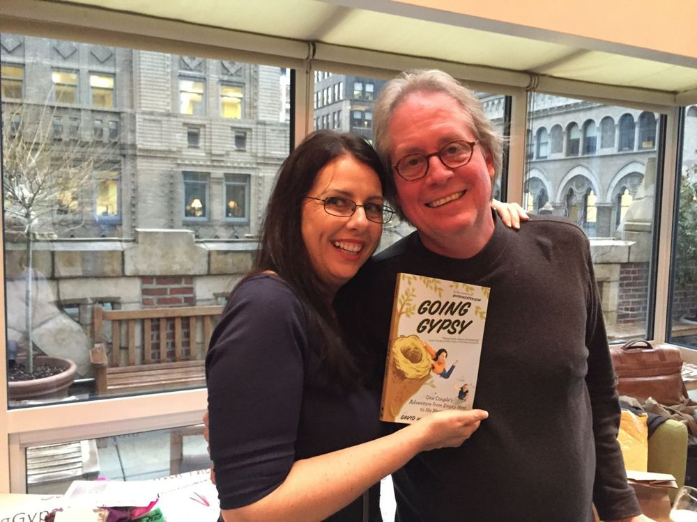 Veronica and David James, the Gypsynester (@gypsynester) with a copy of their (#1 on Amazon) new book.