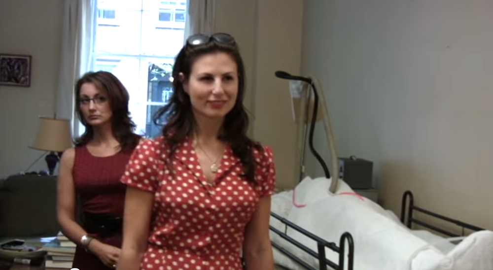 Christine Cook (l) and Jennifer Sklias-Gahan (r) in front of the body cast.
