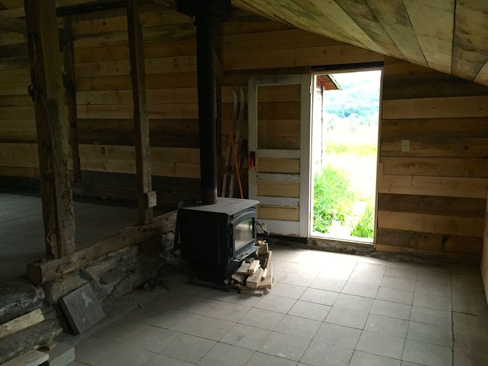 the 'office' part in the way back, with a wood stove