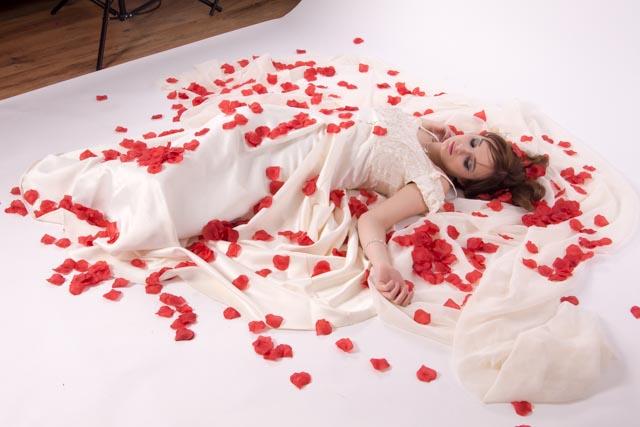 Studio shot for a dreamy wedding dress set.