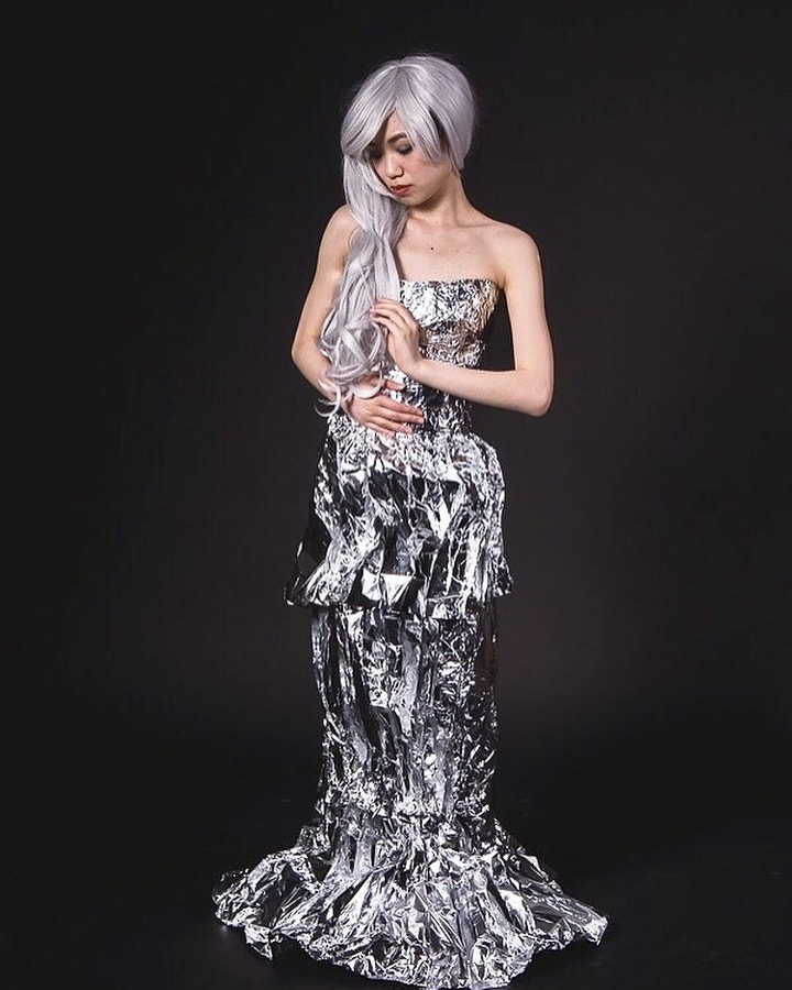Dress made from tin foil. #fashion #silver #tinfoil #photoshoot #beauty #picoftheday #model...