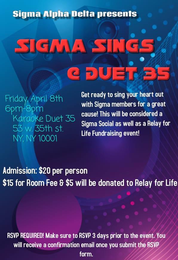 2 Sigma Social : Sings at duet 35 — Sigma Alpha Delta