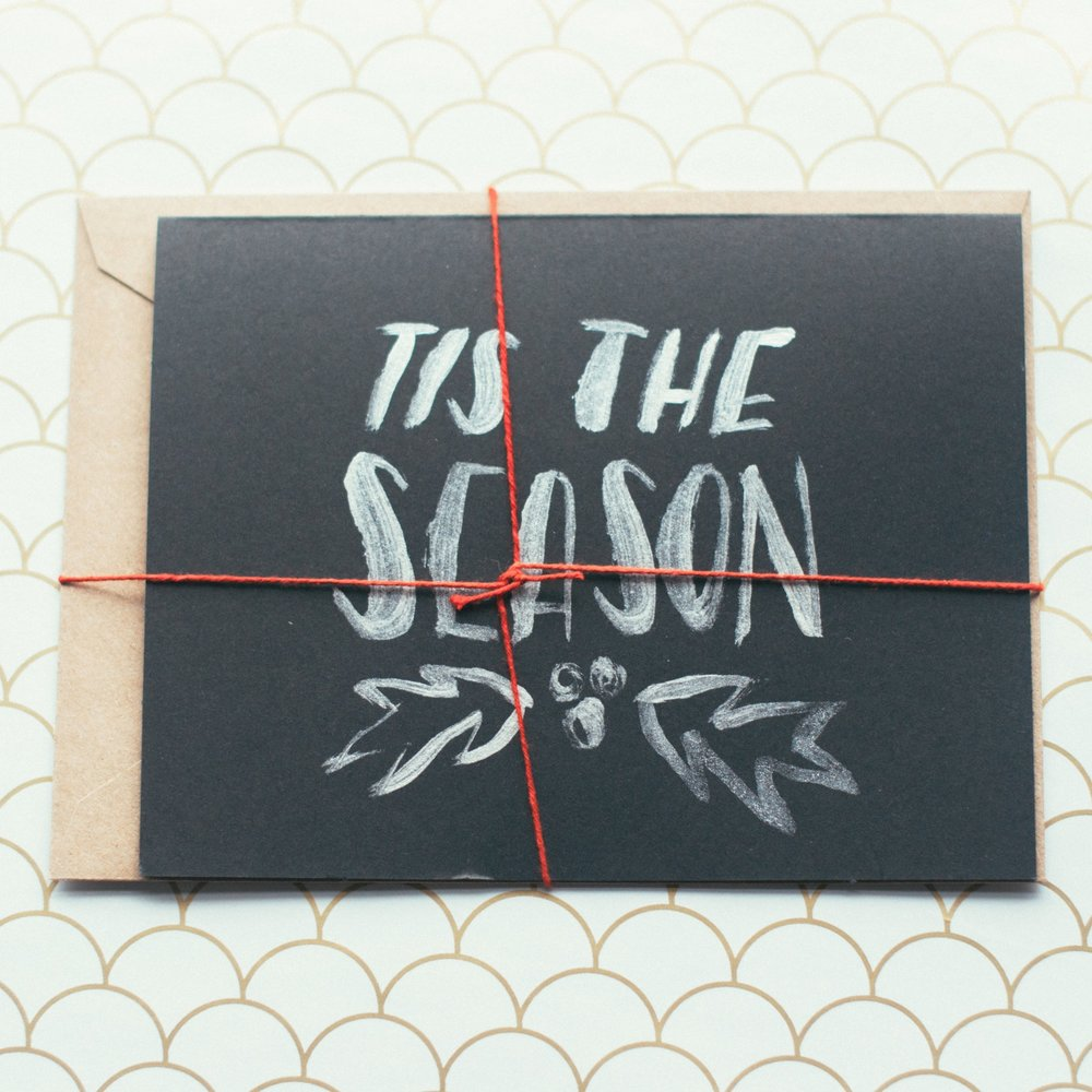 hand-lettered christmas cards