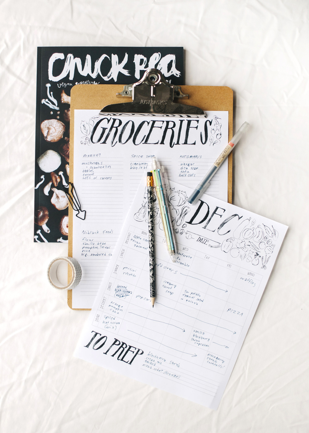 party & meal planning printables