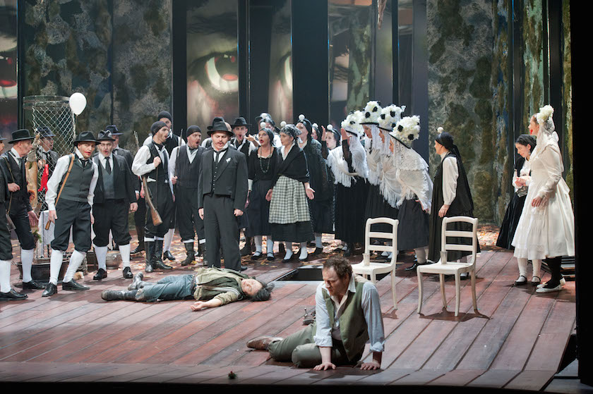 Theater Aachen,  Der Freischütz   photo credit: Ludwig Koerfer  with: Stefan Hagendorn, Woong-jo Choi, Pawel Lawreszuk, Jelena Rakic, Katharina Hagopian, Corinna Heller, Monika Kettenis, Antonella Schiazza, Jolanta Kosira, Opernchor Aachen