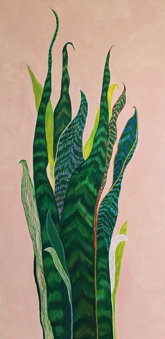 "Snake Plant  18"" x 36""  Acrylic on canvas   2016"