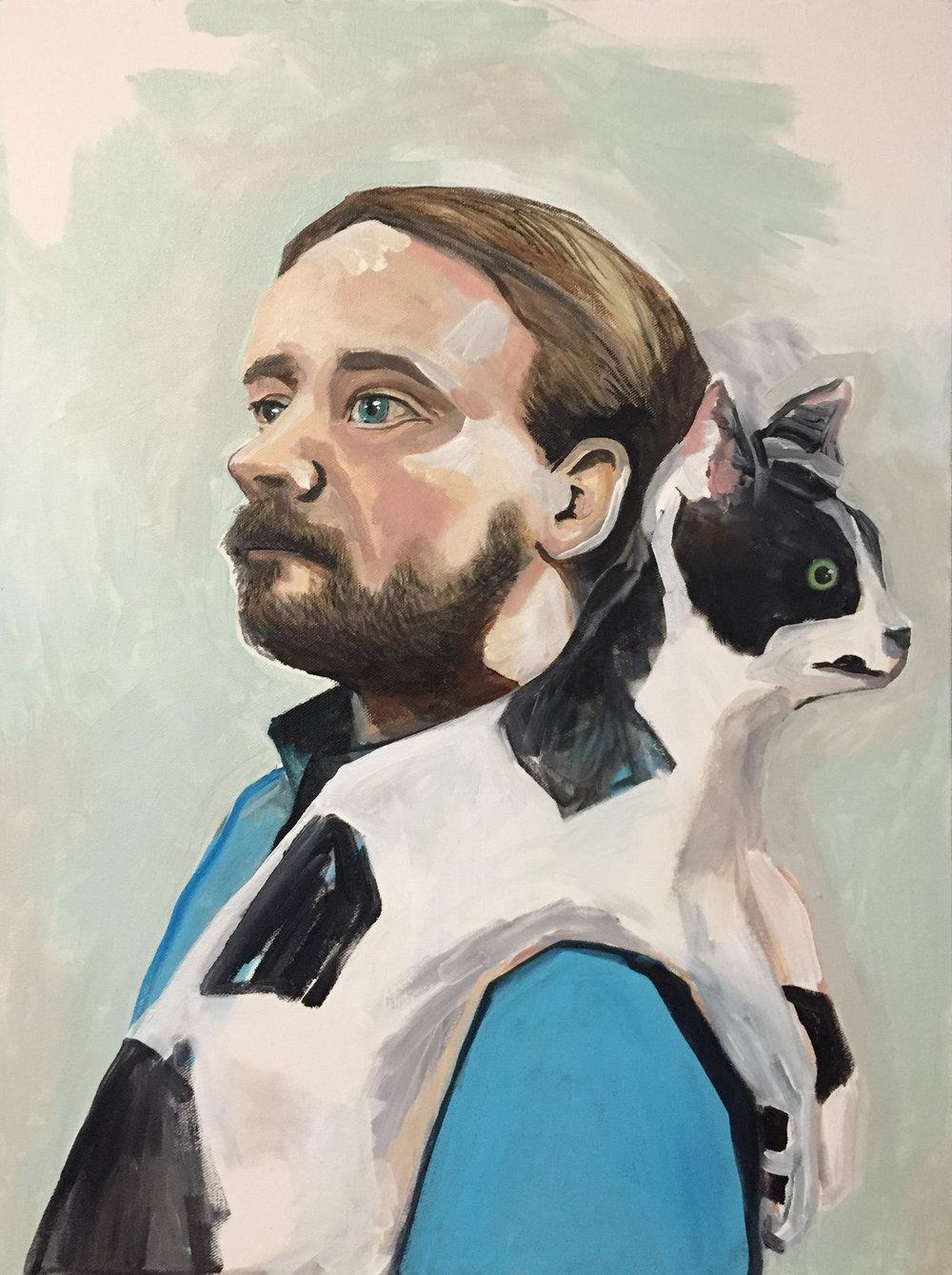 "Kittens  18"" x 24""   Acrylic on canvas   2016"