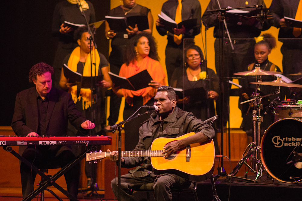 Gurrumul and the First Nations Choir of Queensland photograph Rachel Long