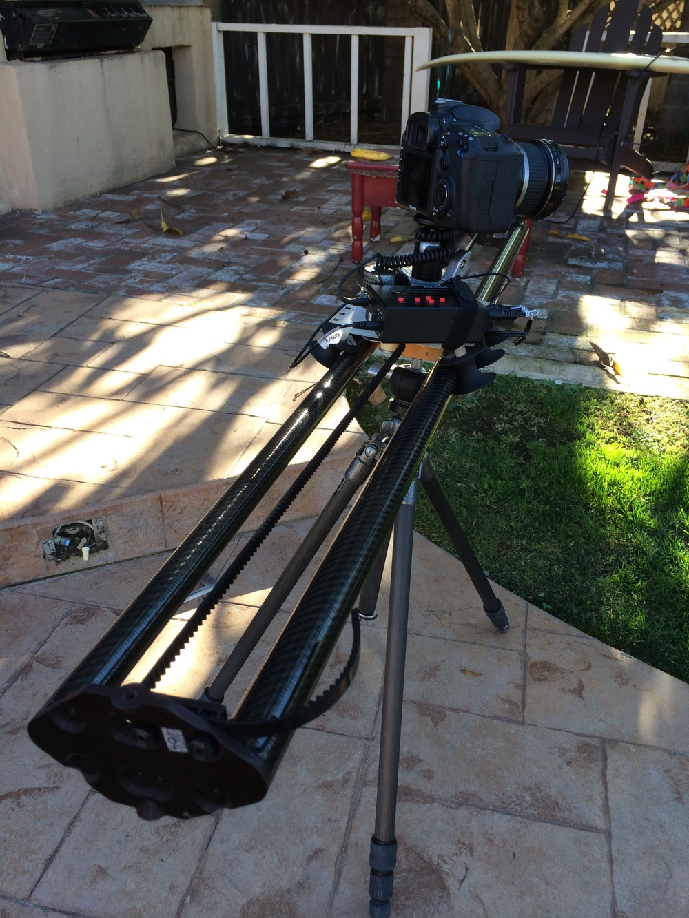 The dolly system with 4 ft of track and a Canon 5D undergoing some testings.