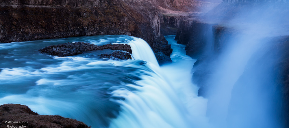 The powerful Gullfoss at twilight.