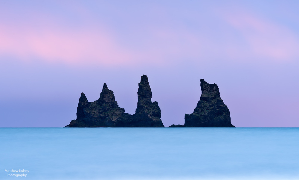 Click to Enlarge. The black sea stacks at Vik.