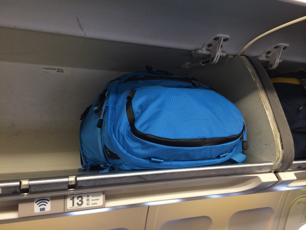 The Tilopa fit into the overhead bin with room to spare.