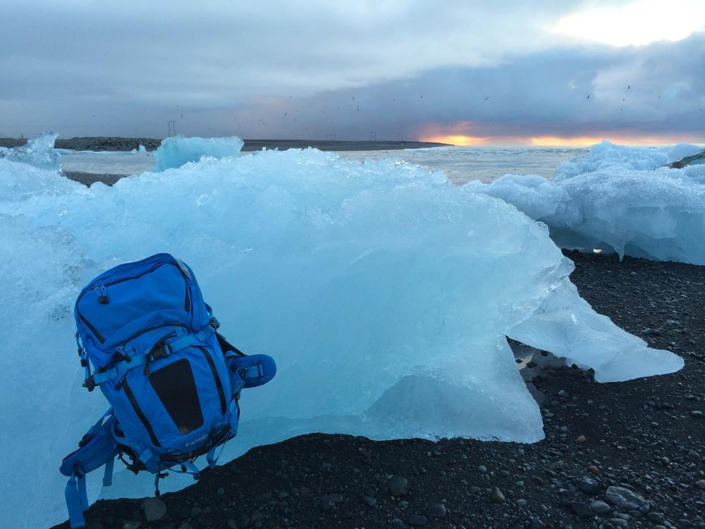 The Tilopa resting on an iceberg. Jokulsarlon Iceland.