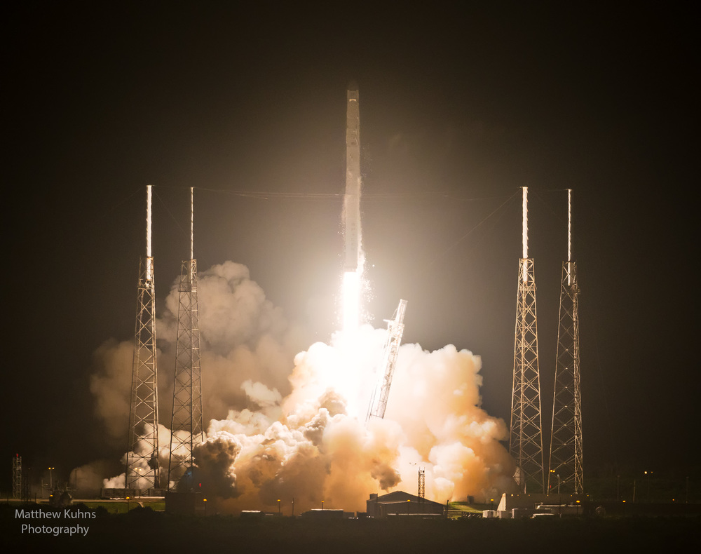 The Falcon 9 rocket with the Dragon and payload bound for the international space station clears the tower.