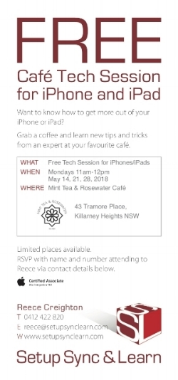 Free café tech sessions for apple iphone/ipad in May 2018