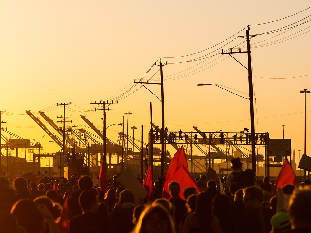 Port of Oakland.  Thousands marched to blockade the Port of Oakland during General Strike.