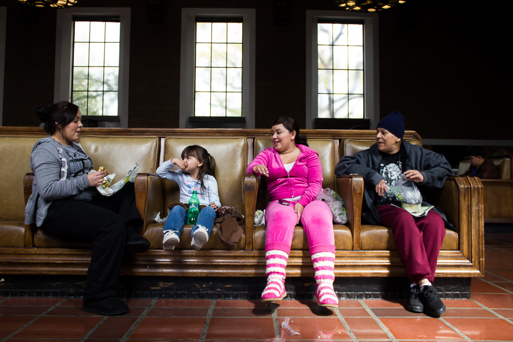 Family from Ventura waits for their train at LA Union Station.