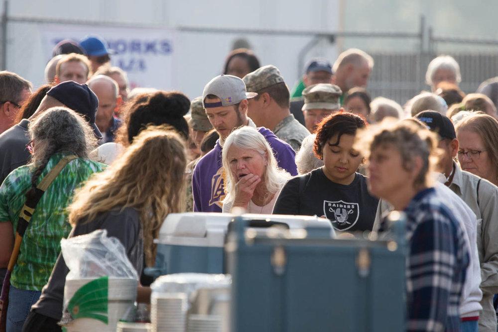 Evacuees from wildfires receive food at a Red Cross Shelter. Santa Rosa, CA. October 2017