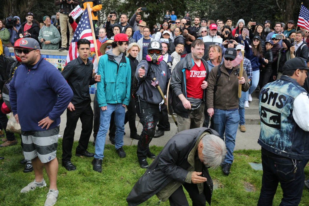 "Kyle ""based stickman"" Chapman sprays a counter-demonstrator at a pro-Trump rally. Berkeley, CA April 2017"