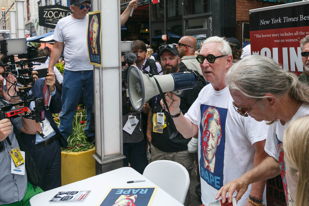 Roger Stone at an event with Alex Jones during the Republican National Convention in Cleveland, OH. June 2016