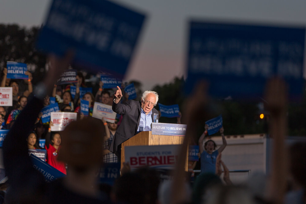 Bernie Sanders addresses a crowd in Vallejo, CA. May 2016.