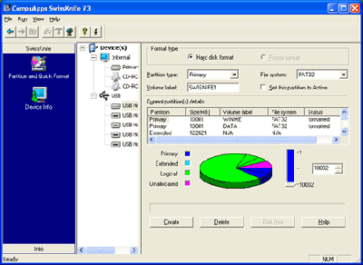 When working from a Windows environment (particularly Windows XP), you may experience difficulty using the default Windows format tool to format your large external USB hard drive as Fat32.  This is due in part to the fact that the Windows format tool can only format a drive using the Fat32 if the drive is 32GB or smaller.  While a great number of external hard drives are being manufactured with capacities in excess of 40GB we indeed need another method of formatting these devices using a single Fat32 partition.  After dabbling a bit with a few different free software formatting tools that are launchable from within Windows, I have come to a nice solution. The utility is called CompuApps SwissKnife and works great for those that need to format their USB hard drives from a Windows XP environment.  SwissKnife is a stand alone solution that will allow you to format your external USB devices as Fat32 so that the information you put on the device can be read across multiple operating platforms. This is great since some of us are using Linux, Unix and other operating environments along with Windows and wish to access our data via these platforms.  Below is a simple screenshot of the application:    The application is easy to navigate and straightforward to use.  It is completely free to use and you can grab it from  HERE   The product website is  HERE