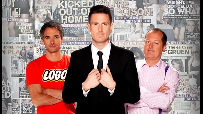 Gruen host Wil Anderson (centre) with regular panelists Todd Sampson and Russel Howcroft