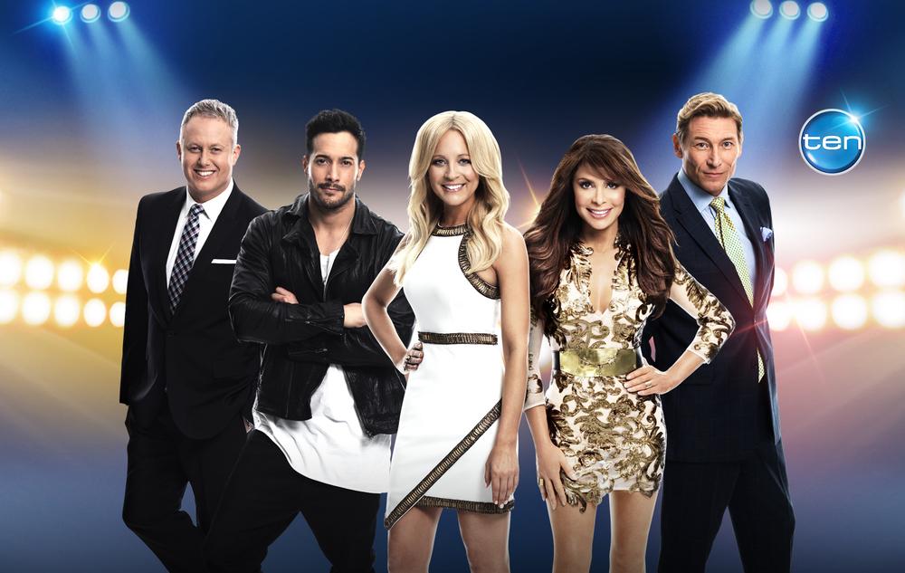 So You Think You Can Dance Australia (L-R) Jason Gilkison, Shannon Holtzapffel, Carrie Bickmore, Paula Abdul, Aaron Cash.jpg