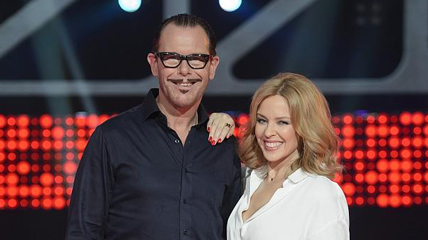 Voice mentor Kirk Pengilly with Kylie Minogue image copyright - News Corp Australia