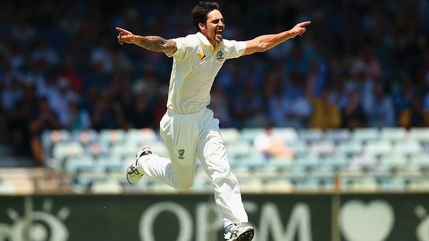 Mitchell Johnson celebrates at the Perth Test image copyright - SMH and Getty Images