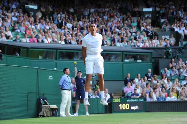 Nick Kyrgios celebrates his victory last night against Rafael Nadel image - Wimbledon.com