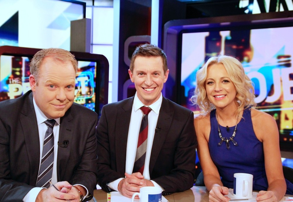 Rove McManus with Carrie Bickmore and Peter Helliar