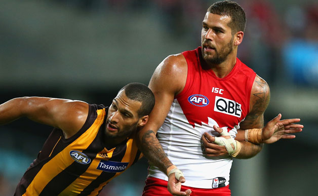 Josh Gibson and Lance Franklin earlier this year. image copyright - Getty