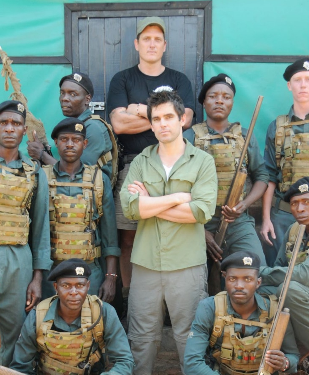 Sabour Bradley with Ex-Commando Damien Mander and his anti-poaching unit. image - supplied