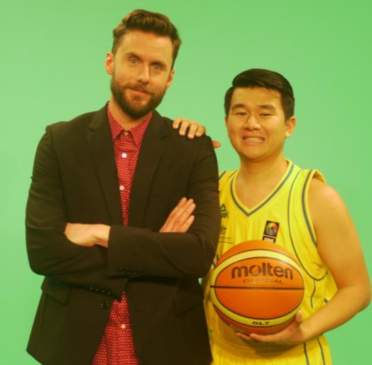 DAVE THORNTON and RONNY CHIENG, the basketball mad hosts of DOUBLE DRIBBLE. image - supplied