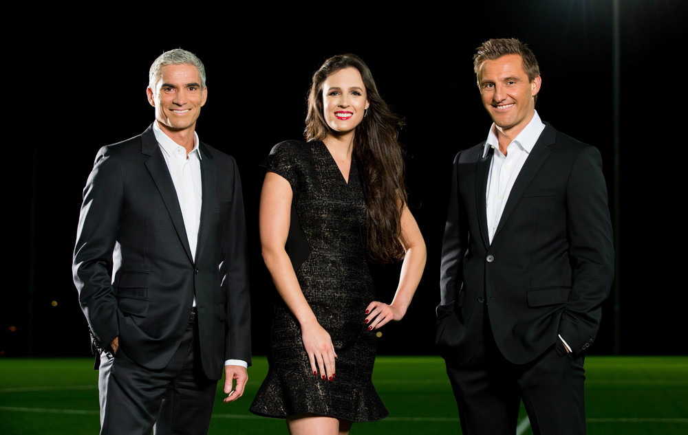 Craig Foster, Lucy Zelic and David Zdrilic are ready for a new season of A-League image - supplied/SBS