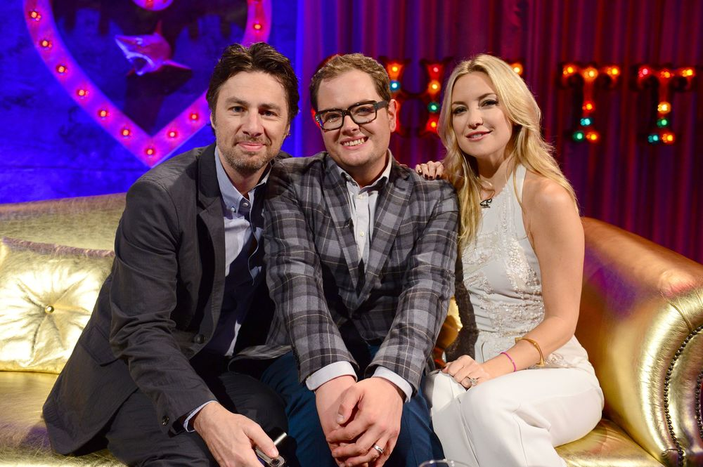 Zach Braff and Kate Hudson join Alan Carr tonight on UKTV.  image - BBC