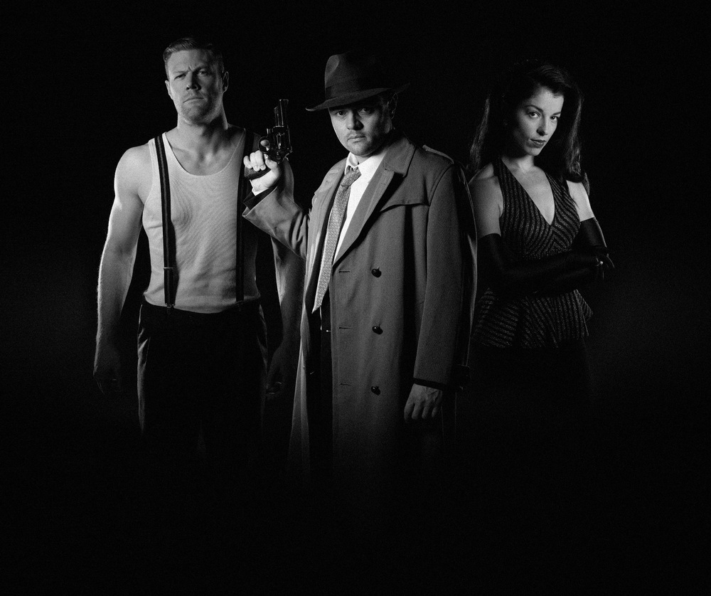 The cast of Noirhouse - The Detective (Nathan Spencer), The Russian (Michael Davies) and Nadia (Melanie Irons) image - supplied/ABC